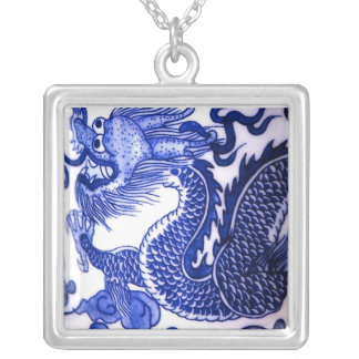 """Blue and White Porcelain Dragon"" Silver Plated Necklace"
