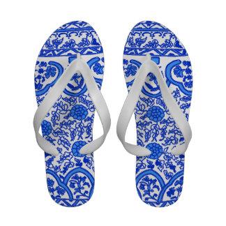Blue and White Porcelain Flip Flops