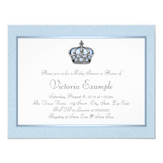 Blue and White Prince Baby Shower Card