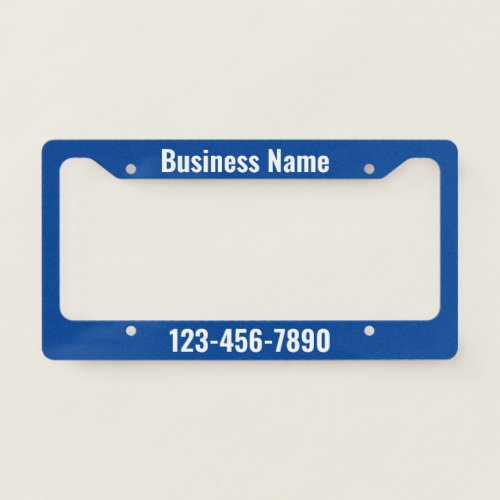 Blue and White Promotional Template License Plate Frame