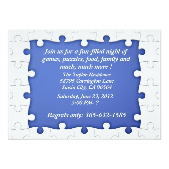 Blue and white Puzzle Frame Invitations