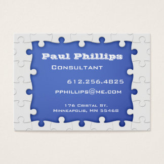 Blue and white Puzzle Piece Business Cards
