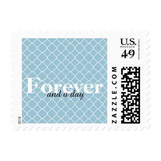 Blue and White Quatrefoil Forever Stamp