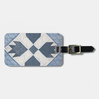 Blue and White Quilt Luggage Tag