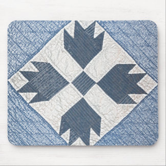 Blue and White Quilt Mouse Pad