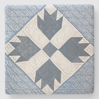 Blue and White Quilt Stone Coaster