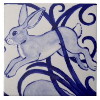 Blue and White Rabbit Ceramic Tile Art Deco 6""