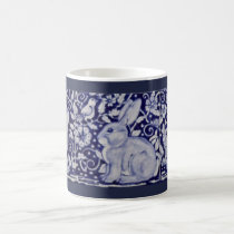 Blue and White Rabbit China Cobalt Dedham Mug