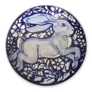 Blue and White Rabbit Drawer Door Pull Knob Dedham