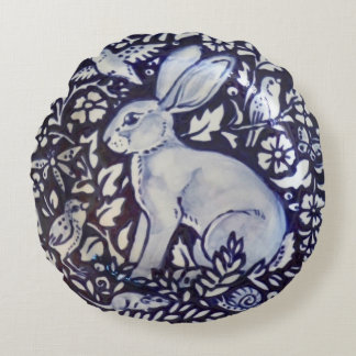 Blue and White Rabbit Hare Bird Mouse Snail Pillow