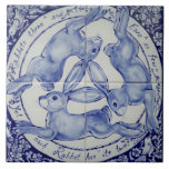 "Blue and White Rabbit Hare Trio Bird Tile Trivet<br><div class=""desc"">My original,  copyrighted adaptation of an ancient hare trio design makes a beautiful tile in blue and white.</div>"