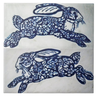 Blue and White Rabbit Marble Look Ceramic Tile