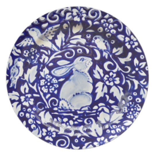 Blue and White Rabbit Pottery Look Melamine Plate  sc 1 st  Zazzle & Blue and White Rabbit Pottery Look Melamine Plate | Zazzle.com