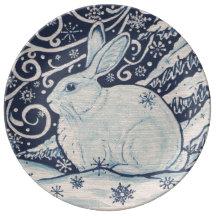 Blue And White Christmas Plates Zazzle