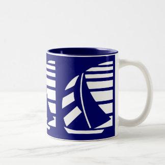 Blue and White Racing Sailboat Coffee Mug