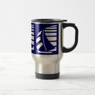 Blue and White Racing Sailboat Mug
