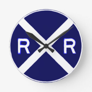 Blue And White Railroad Crossing Sign Round Clock