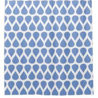 Blue and White Rain Drops Dot Patterns Shower Curtain