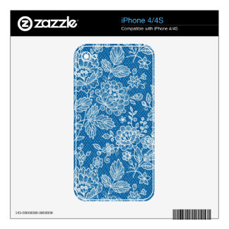 Blue And White Retro Flowers Shading Pattern Skin For iPhone 4S