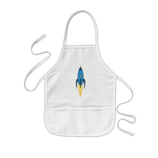 Blue and White Retro Rocketship Cartoon Design Kids' Apron