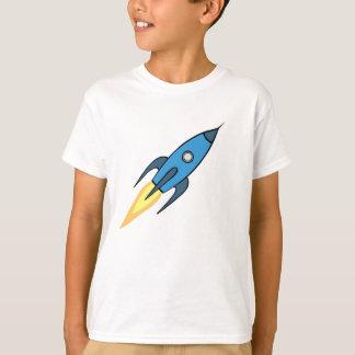 Blue and White Retro Rocketship Cartoon Design T-Shirt