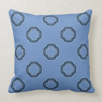 Blue and White Reversible Layered Pattern Throw Pillow