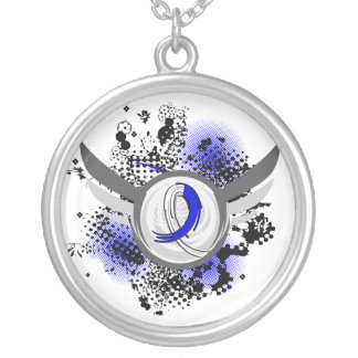 Blue And White Ribbon And Wings ALS Silver Plated Necklace