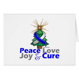 Blue and White Ribbon Xmas Peace Love, Joy & Cure Greeting Card