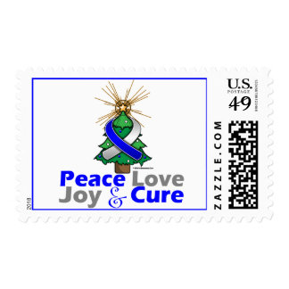 Blue and White Ribbon Xmas Peace Love, Joy & Cure Postage