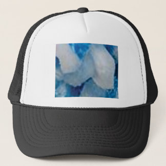 blue and white rocks trucker hat