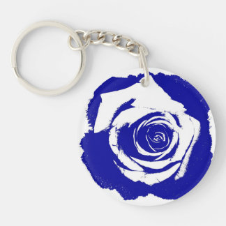 Blue-and-white Rose graphic Acrylic Key Chain