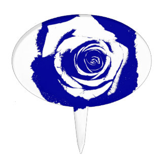 Blue-and-white Rose graphic Cake Topper