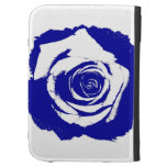 Blue-and-white Rose graphic Kindle Folio Case