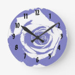 Blue-and-white Rose graphic Round Wall Clock