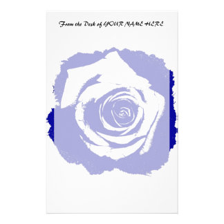 Blue-and-white Rose graphic Stationery