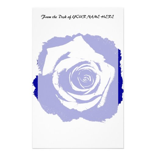 Blue-and-white Rose graphic Stationery Design