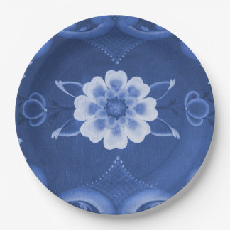 Blue and White Rosemaling Paper Plates