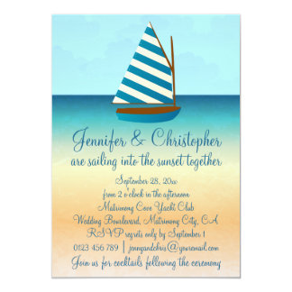 "Blue and White Sailing Boat Wedding 5"" X 7"" Invitation Card"