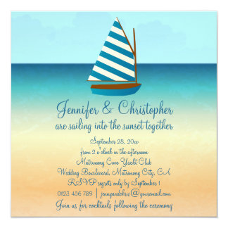 "Blue and White Sailing Boat Wedding 5.25"" Square Invitation Card"