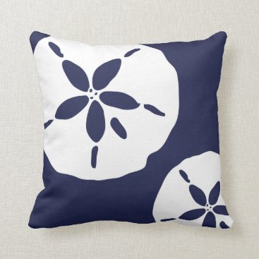 Beach Themed Blue and White Sand Dollar Sea Shell Pattern Throw Pillow