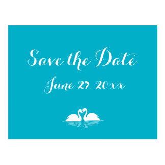 Blue And White Save The Dates Postcards Swans