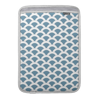 Blue and White Scalloped Shells Pattern MacBook Sleeve