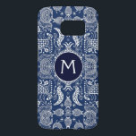 "Blue And White Scandinavian Folk Design Samsung Galaxy S7 Case<br><div class=""desc"">This fun blue and white Scandinavian folk designed Galaxy 7 case has a bit of a twist. In the middle of the nature pattern of birds and flowers is a navy and white frame. Inside the frame is a initial you can personalize. So if you have a folk art style...</div>"