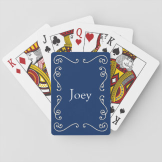 Blue and White Scrollwork Customizable Deck of Playing Cards