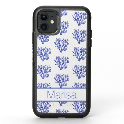 Blue and white sea coral OtterBox symmetry iPhone 11 case