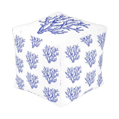Blue and white sea coral pouf