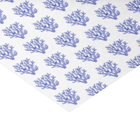 Blue and white sea coral tissue paper
