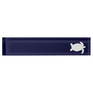 Blue and White Sea Turtle Nameplate