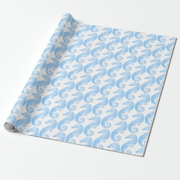 Beach Themed Blue and White Seahorse Gift Wrap