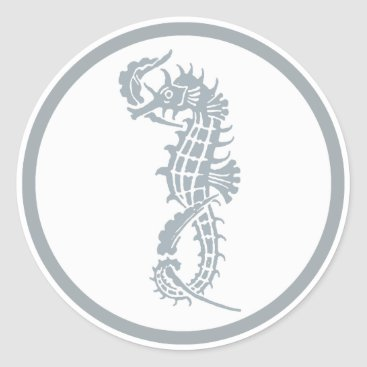 Beach Themed Blue and White Seahorse Logo Classic Round Sticker